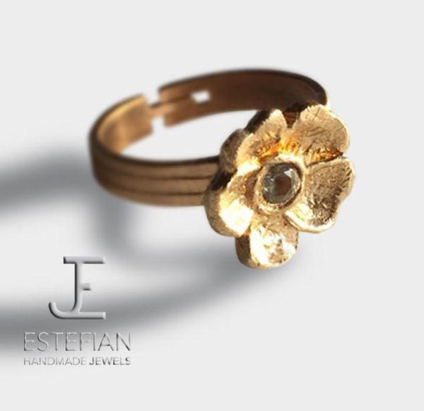 """Anello """"Nontiscordardime"""" in bronzo classico con pietra verde acqua,fatto a mano - Estefian-Jewels Handmade"""