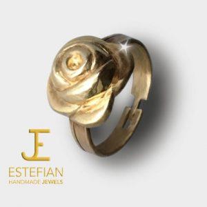 """Anello """"Rosa Antica"""" in bronzo classico, giallo caldo, fatto a mano - Estefian-Jewels Handmade"""