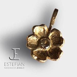 ciondolo nontiscordardime in bronzo classico, gioiello fatto a mano, estefian-jewels handmade, manufatto fiore